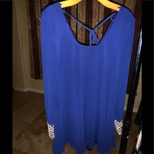 Blue Dress with Diamond cuff